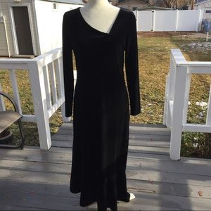 Carole Little Asymmetrical Velvet Dress